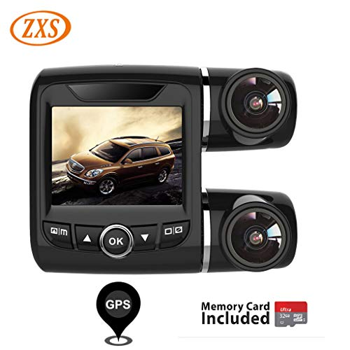 Dual Channel Dash Cam, ZXS X9 Dual 1080P Front and Rear Cam, 2.0″ Car Dashboard Camera with Super Capacitor, 270° Rotary Lens,ADAS, G-Sensor, GPS