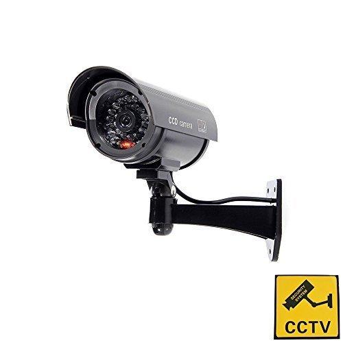 Bondwell Outdoor Indoor Fake Dummy Imitation CCTV Security Camera W/Blinking Flashing Light Bullet Shape black