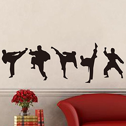 Amaonm Creative Vinyl Sport Taekwondo Wall Decor Taekwondo Player Silhouette Wall Decals Removable DIY Baby Nursery Bedroom Living Room Home Wall Stickers Murals Wall Art 17x51 (Black)