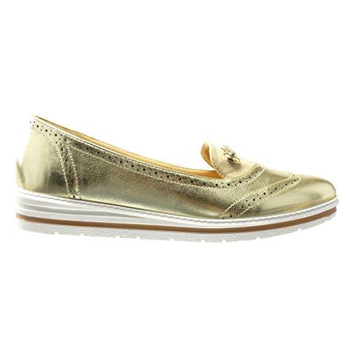 Angkorly Damen Schuhe Mokassin - Slip-On - Sneaker Sohle - Schmuck - Strass - Perforiert Keilabsatz High Heel 3 cm - Gold