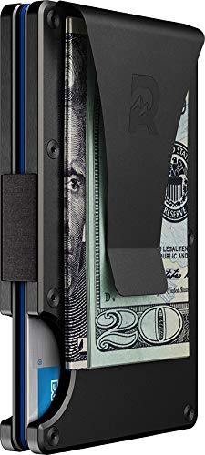 The Ridge Authentic Minimalist Metal RFID Blocking Wallet - Money Clip (Gunmetal) | Wallet for Men | RFID Minimalist Wallet, Slim Wallet