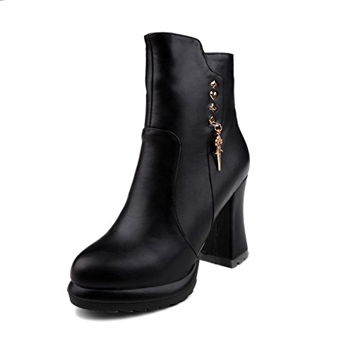 AllhqFashion Womens PU Low Top Solid Zipper High Heels Boots With Metal Piece, Black, 36
