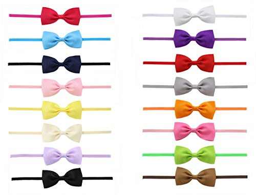 Baby Girls Grosgrain Hair Bow Slim Headbands(16 Pack)