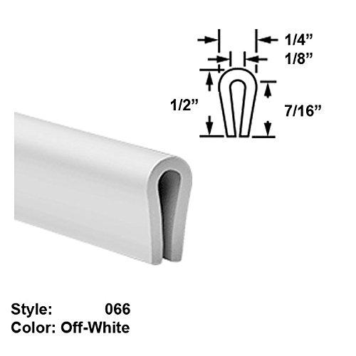 Food-Grade Nylon Plastic U-Channel Push-On Trim, Style 066 - Ht. 1/2'' x Wd. 1/4'' - Off-White - 25 ft long