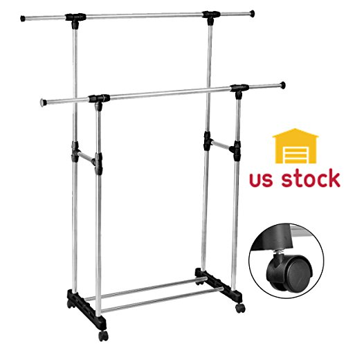 Thegood88 HEAVY DUTY-Double Adjustable Portable Clothes Rack Hanger Extendable Rolling