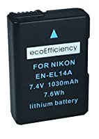 ecoEfficiency 2 Pack of EN-EL14, EN-EL14A Batteries and Battery Charger for Nikon D5600 Digital SLR Camera by Big Mike's