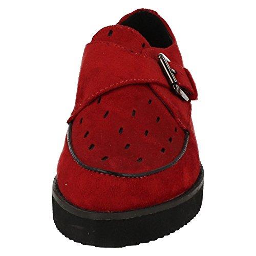 Spot On ,  Damen Durchgängies Plateau Sandalen mit Keilabsatz Rot