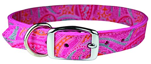 OmniPet 6248-PK22 Paisley Pattern Leather Dog Collar, Pink - Leather Dog Cap