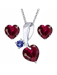 Silvernshine Jewels 18k White Gold Plated Red Garnet & Blue Sapphire Heart Fashion Earring & Pendant