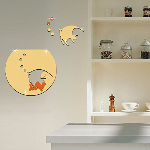Cute Goldfish Fish Tank DIY Wall Stickers 3D Acrylic Mirror Effect Wall Decor for Nursery Home Decoration Living Room Bedrom Decorative Mural Decals Removable