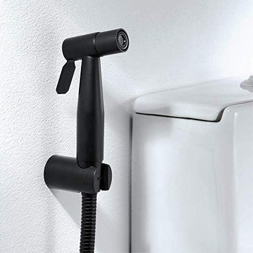 バスルーム銅黒トイレスプレーガン+入口パイプブラック1.5 mホースフルセットの加圧スプレーガンペットバスブラケット付きバスルーム用品