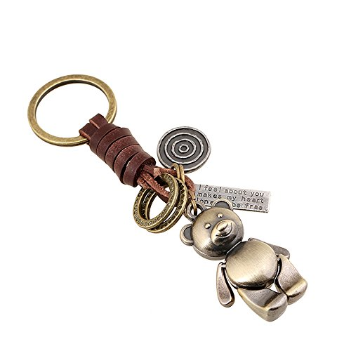Creative Cute DIY Handmade Retro Alloy Weave Genuine Leather Car Key Chain for Men Women (Bear)