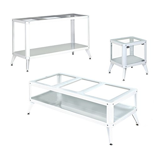 HOMES: Inside + Out IDF-4273WH-3PC Vador Metal Frame 3 PC Coffee Table Set