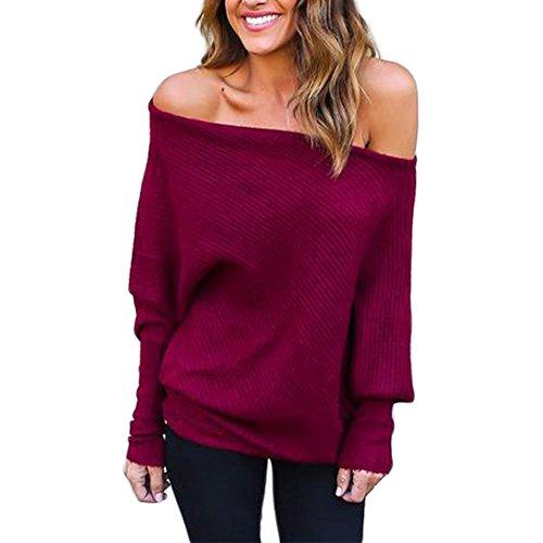 BAINASIQI Sweatshirt Vino Maglione Elegante Maglietta Lunghe Donna Spalline Maglia Rosso Senza Maniche Tops Felpa Pullovers 7w7OrS