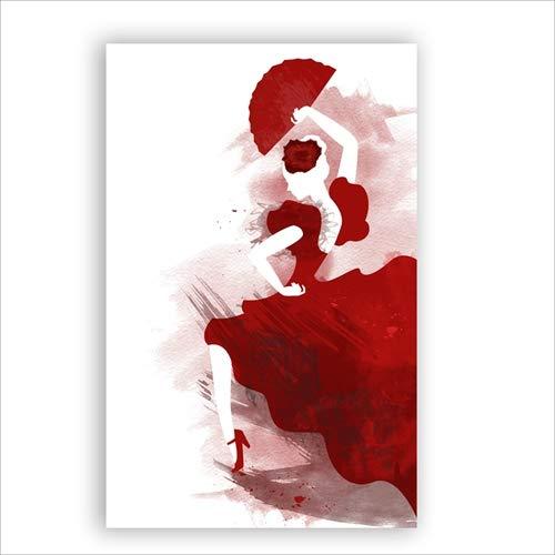 WSWWYBailarina con Elegante Falda roja, con Pintura Mural de ...