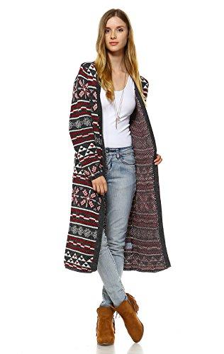 Zoozie LA Women's Long Aztec Cardigan Tribal Sweater Holiday Isle Pattern Red Gray S/M -