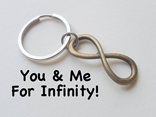 Bronze Infinity Symbol Keychain - You and Me for Infinity; 8 Year Anniversary Gift, Couples Keychain