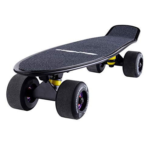 Vortex Skateboard Wheels - Scooters Kids Complete Skateboard for Kids Youths Beginners, Plastic with 4 Matte PU Wheels, 22'' inch with Carry Bag (Color : Black)