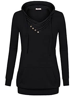 Timeson Women's Long Sleeve Crowl Neck Lightweight Pullover Hooded Sweatshirt With Pocket