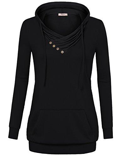 Timeson Hooded Sweatshirt Women, Crowl Neck Casual Pullover Pocket Lightweight Hoodie Sweater Black Medium