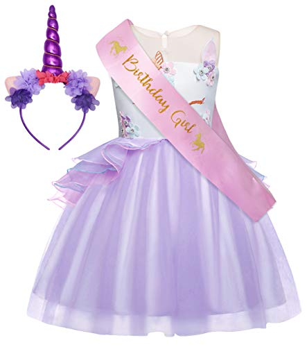 HenzWorld Girls Unicorn Costume Dress Kids Pageant Flower Princess Party Dresses Halloween Birthday Outfits 3T 2-3 Years]()