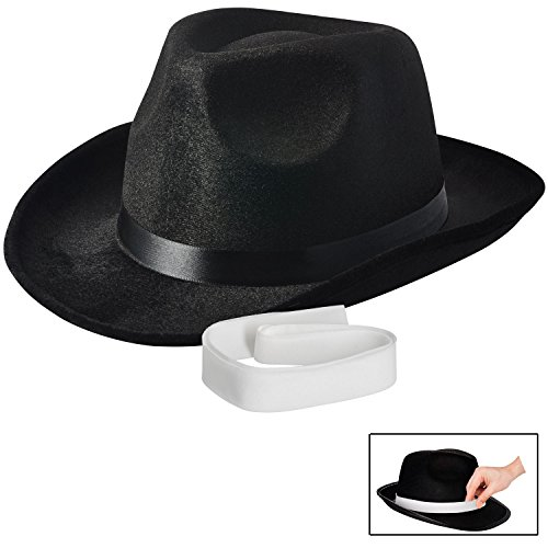NJ Novelty - Fedora Gangster Hat, Black Pinched Hat Costume Accessory + White (Mens Mafia Costume)