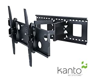 "Kanto KM-FMX2 Full Motion Articulating TV Wall Mount Bracket - Mount Flat Screen Television and Flat Panel Monitors LED LCD PLASMA 37"" to 70"" - SOLID STEEL CONSTRUCTION (Black)"