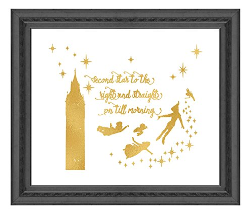 Gold Print Inspired by Peter Pan - Second Star to the Right - Gold Poster Print Photo Quality - Made in USA - Home Art Print -Frame not included (8x10, (Peter Pan Tinkerbell Pictures)