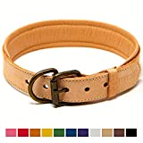 Logical Leather Padded Dog Collar - Best Full Grain Heavy Duty Genuine Leather Collar - Tan - Large