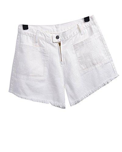 Di Pantaloni Bianco A Alta Corti Jeans Donna Vita Pantaloncini Strappati Znq4wxxXF8