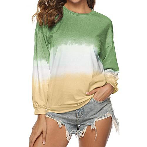 [해외]Thenxin Women`s Autumn Winter Gradual Printed Long Sleeve Sweatshirt Loose Pullover Fashion Tops / Thenxin Women`s Autumn Winter Gradual Printed Long Sleeve Sweatshirt Loose Pullover Fashion Tops(Green,M)