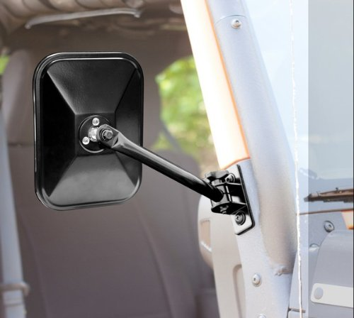 (Rugged Ridge 11025.13 Black Rectangular Quick Release Side Mirror for 1997-2018 Jeep Wrangler Models, Pack of)