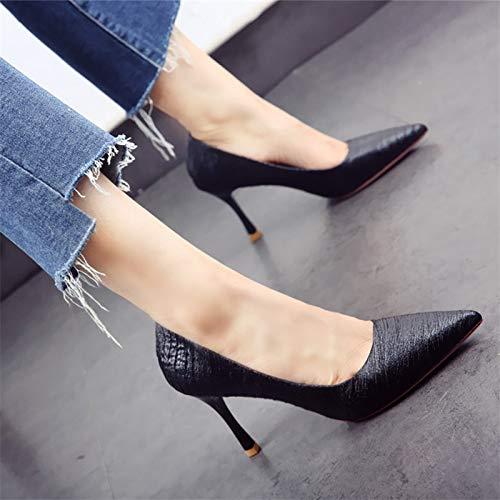 respiración Mujeres de de de de Primavera otoño y Zapatos Superficial Zapatos Banquete Aguja YMFIE Acentuados Las B de Tacones de la Temperamento TpCHxwq