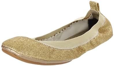 Yosi Samra Women's Glitter Ballet Flat,Gold,6 N US