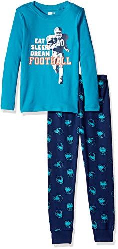 Crazy 8 Boys 2-Piece Long Sleeve Tight Fit Pajama Set, Blue Eat Sleep Football -