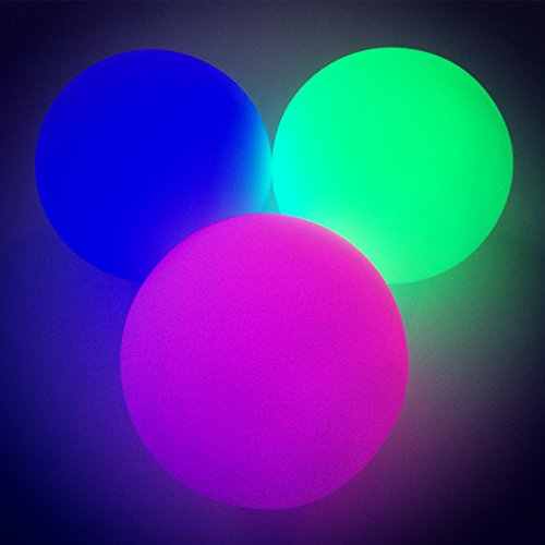 Weighted Light-up LED Juggling Balls, 3pc Set, Smooth/Soft Surface - (plain box packaging)