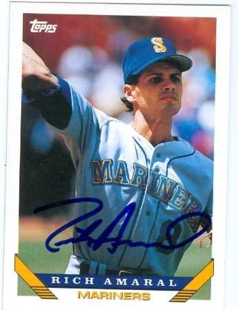 Autograph Warehouse 81686 Rich Amaral Autographed Baseball Card Seattle Mariners 1993 Topps No .431