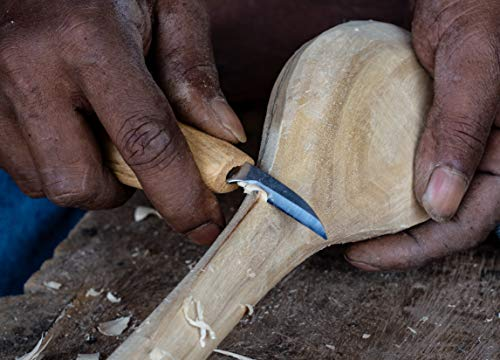 Wood Carving Kit - Set of Wood Carving Knives with Whittling Knife, Hook Knife, and Detail Knife + Knife Sharpener by Red Geese (Image #3)