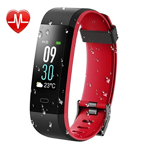 KARSEEN Fitness Tracker, Activity Tracker IP68 Waterproof Fitness Watch Heart Rate Monitor Colorful OLED Screen Smart Watch With Sleep Monitor Step Counter Rminder Pedometer for Android&iOS (Black)