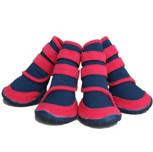 Set of 4 one pair worth dog for long type boots shoes (Red) (M size) (japan import)