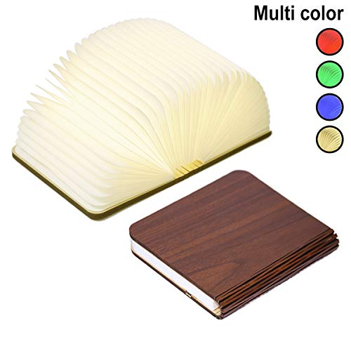 Innerest Night Light Wooden Book Folding Lamp Desk Table Home Décor Kids Bed Lighting (Maple Wood, Large)