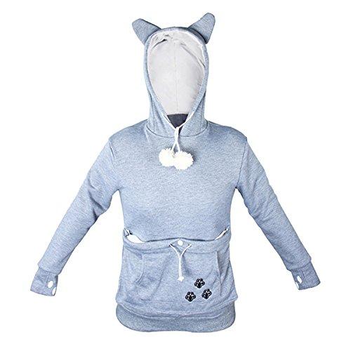 CA Mode Women Cat Pet Holder Hoodie Sweatshirt Sweats Track Outwear Jacket Grey Large ()