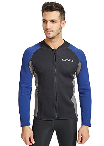NATYFLY Mens Wetsuit Jacket,Long Sleeve 2mm Neoprene Wetsuits Top for Men (Blue, X-Large)