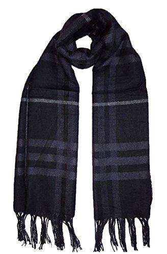 Grand Doux à carreaux style écharpe d'hiver Plaid Noir