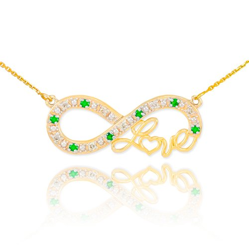 Forever 14k Yellow Gold Love Script Natural Emerald and Diamond Infinity Pendant Necklace with