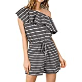 Drop One Shoulder Stripe Rompers Casual Short Jumpsuits Pockets