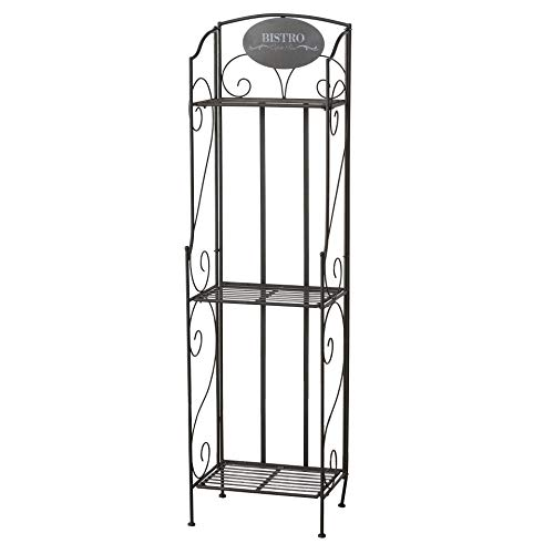 WHW Whole House Worlds Bistro Bakers Rack, Shelves, Slim Line Design, Black, Iron, Scrolled Details, Foldable, for Indoor and Outdoor Use, 58 Inches Tall