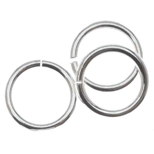 Beadaholique 10-Piece Sterling Heavy Open Jump Rings, 8mm, 18-Gauge, Silver (Silver Sterling Loop)