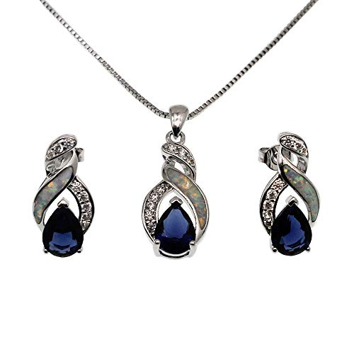 Hermosa Jewelry Sets Australian Opal Blue Sapphire Necklace Earrings (JS10) (Opal Earring Necklace)