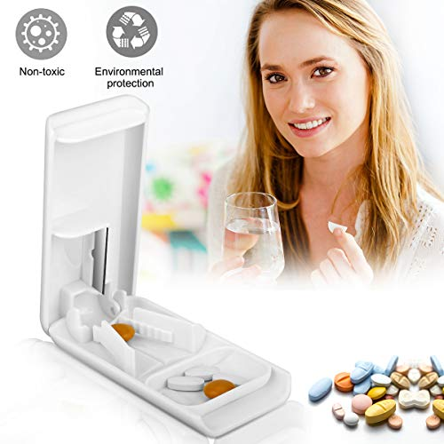Pill Cutter, Easily Crush Medicine Tablets and Vitamins, Tablet Cutter with Small Pill Box Container, Pill Splitter Cutter Chopper,Best Pill Cutter Ever, Easy to Carry When Going Out.